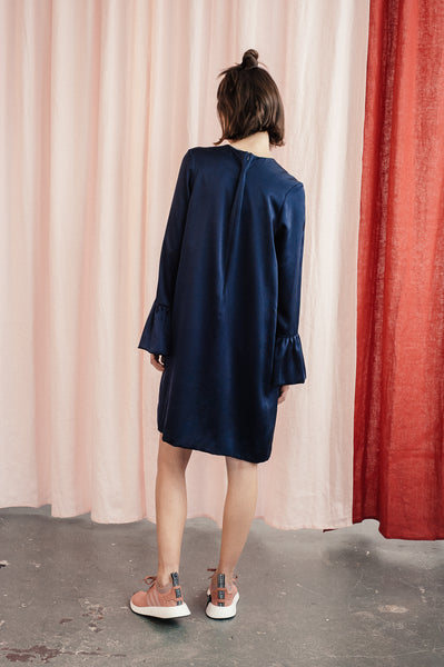 "Navy silk dress ""Hilda"""