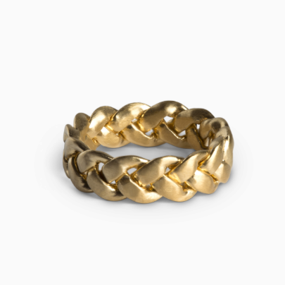 Large braided ring in matt gold-plated silver
