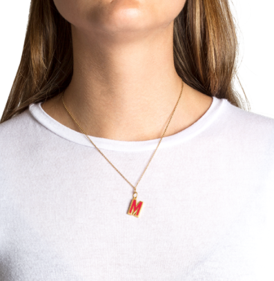 Letter pendant with red enamel C