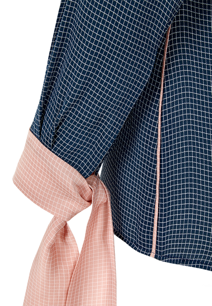 "Checkered blouse with ribbons ""Emma"""