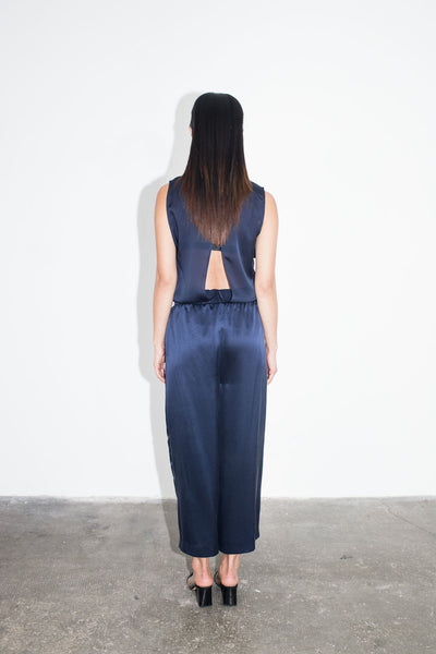 "Navy silk pants ""Jette"""