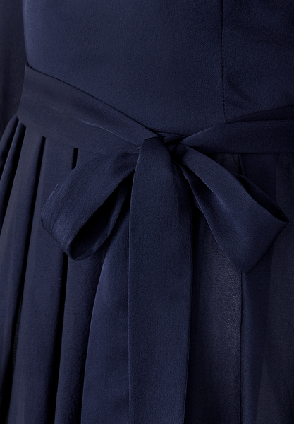 "Navy Silk Gown ""Freya"""