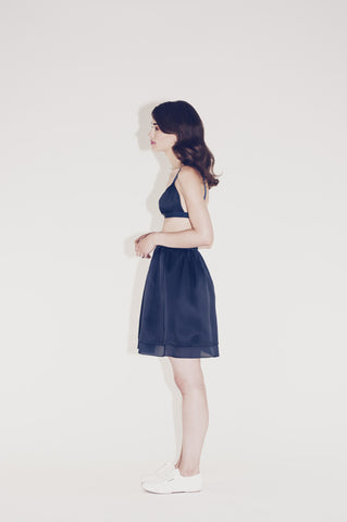 "Navy Silk Skirt ""Belli"