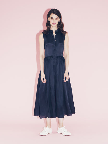Sleeveless navy silk Jumpsuit