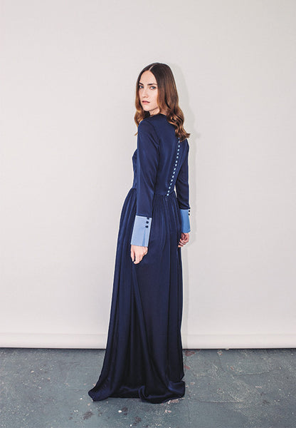 "Long Sleeved Floor Length Silk Gown ""Floren"""