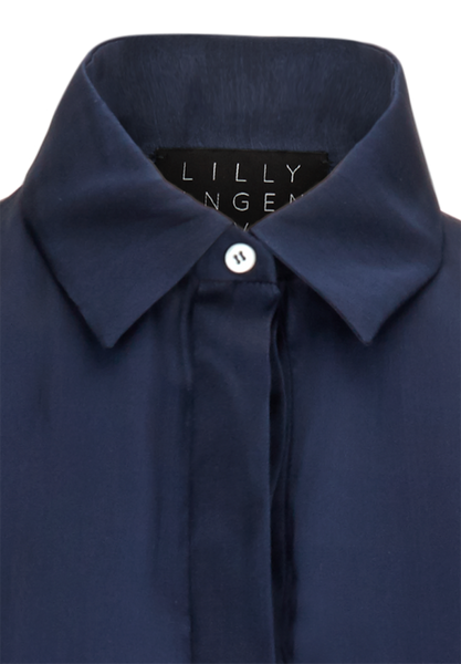 "Navy Silk Blouse ""Bailee"""