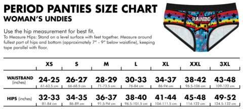 old period panties sizing chart