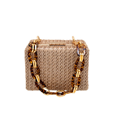 Eden Faux Shiny Straw Box Clutch