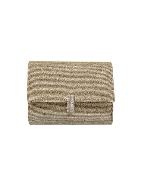 Elizabeth Sparkle Jacquard Flap Clutch with Crystal Pull Tab