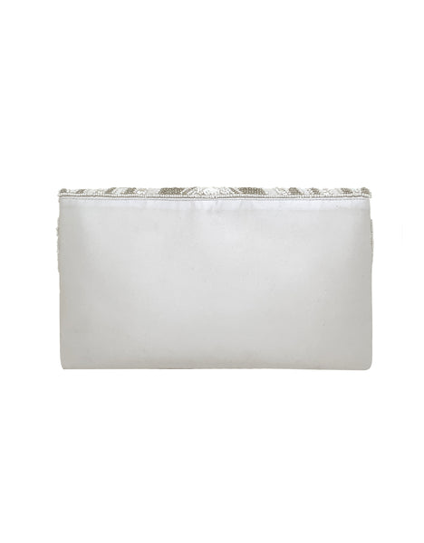 Violet Scallop Flap Beaded Envelope Clutch