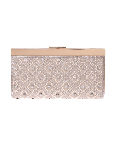 Aubrey Pearl Crystal Top Frame Clutch - Gold