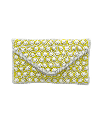 Daisy All Over Fully Beaded Envelope Clutch