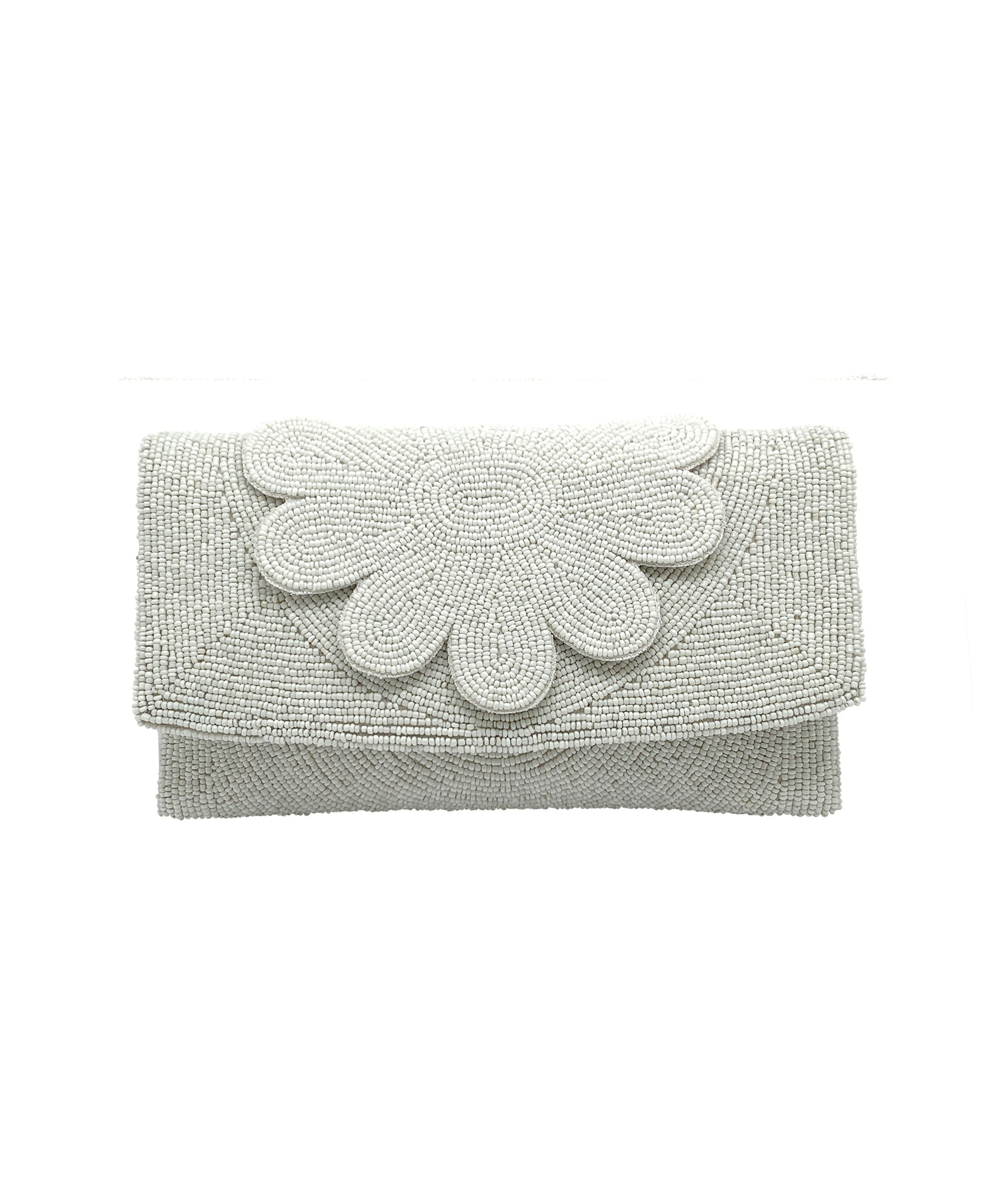 Dahlia Large Beaded Floral Flap Clutch