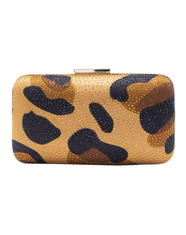 Christal Animal Print Minaudiere - Leopard