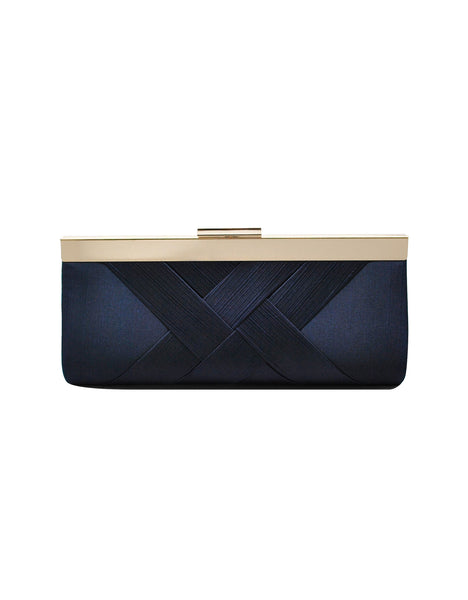 Nora Textured Satin Frame Clutch
