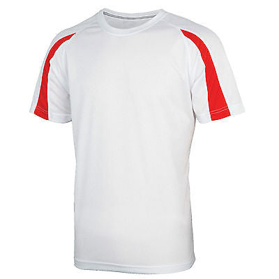 AWDis Contrast Cool T Shirt 15 colours Breathable Running Training Sport Top Wickable JC003