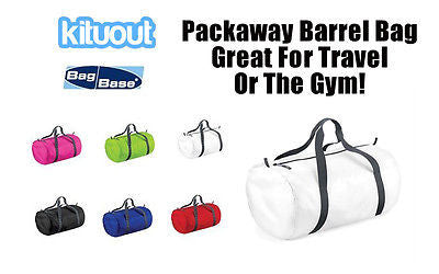BAGBASE Packaway Barrel Holdall Gym Travel Holiday Bag 6 Colours One Size New