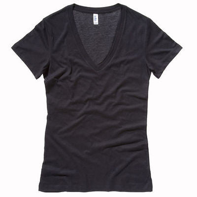 BELLA Womens Ladies Jersey Deep V-Neck Tee T Shirt Size S-XL 7 Colours BE062 New