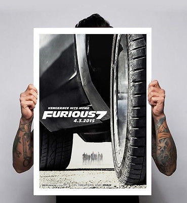 Fast And The Furious 7 RIP Paul walker Vin Diesel Action Art Print Poster A2 A3