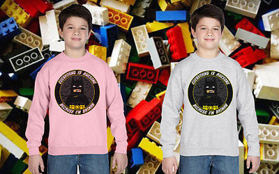 Lego Everything Is Awesome Batman Top Kids Jumper Sweatshirt Boys Girls Tee New