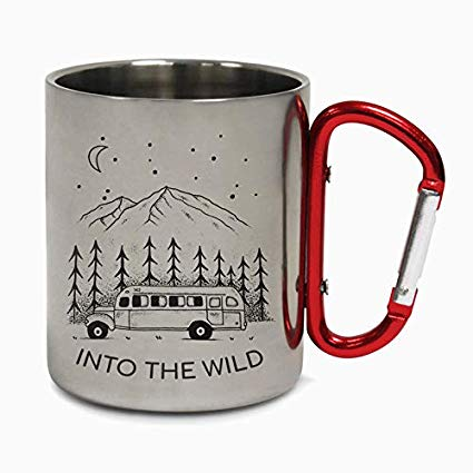 Into The Wild Minimal Design Retro Stainless Steel Travel Mug Coffee Nature Hiking Wildlife Woodland Birthday Xmas Gift