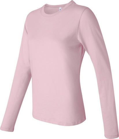 Bella Canvas Cheap Pink Long Sleeve Crew Neck T-Shirt Top BE055 Sizes S - XL New