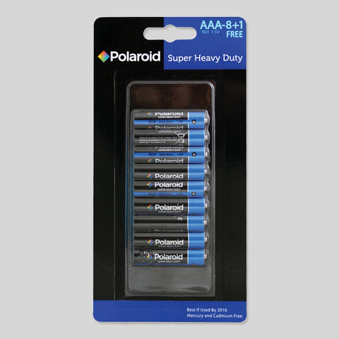 9 Pack Size AAA ( R03 ) Batteries Super Extra Heavy Duty Polaroid 1.5V Work NEW