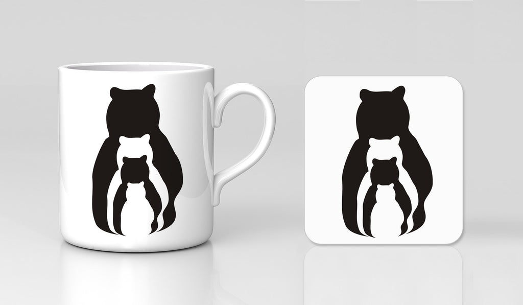 Bear Silhouettes Animal Zoo Personalised Mug & Coaster Birthday Anniversary Mother's Day Father's Day Gift