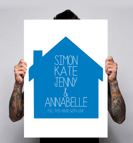 Personalised Names House Illustration Poster Print 180gm A1-3 Birthday Mother's Day Father's Day Gift