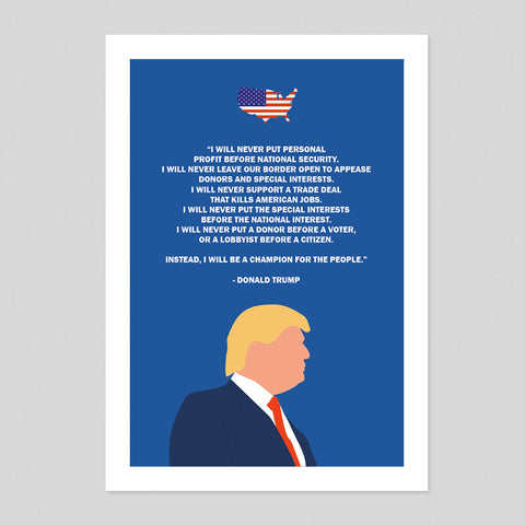 Donald Trump Speech Quote Poster President Minimal Illustration Art Print US