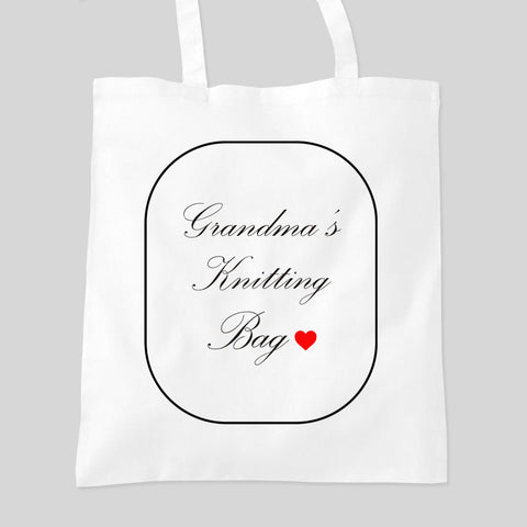 Personalised Mum Grandma Granny Nan's Knitting Bag Tote Bag Mother's Day Birthday Gift