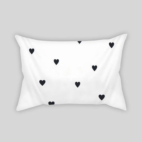 Hearts Black & White Cute Love Couple Throw Pillowcase Rectangle Sofa Couch 100% Cotton