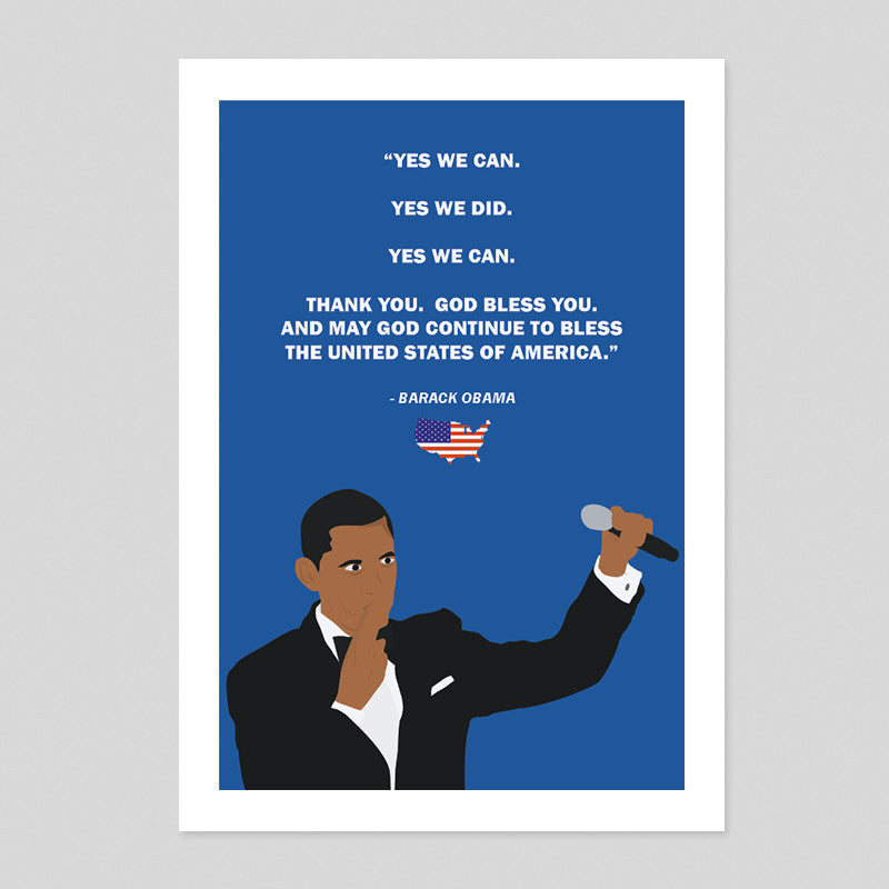 Barack Obama Speech Tribute Poster President Minimal Illustration Art Print US