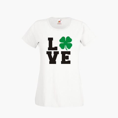 ced47e11 St Patrick's Day Love Four Leaf Clover Lucky T SHIRT Womens Girls S-2XL New