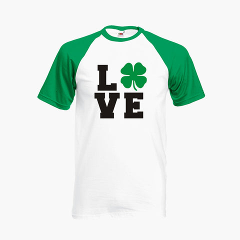 St Patrick's Day Love Four Leaf Clover Lucky T Shirt Baseball Ringer S-2XL New