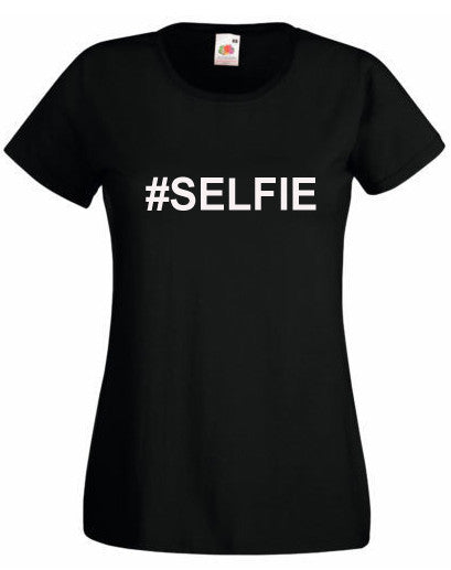 #SELFIE Womens Girl T Shirt Tee Top Slogan Black/White Slim Fit All Sizes New