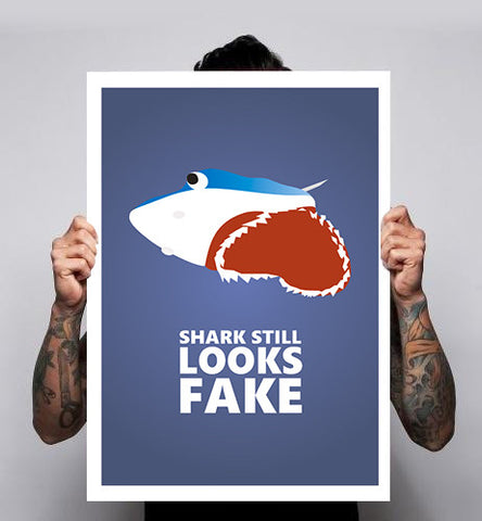Jaws 19 Back To The Future Shark Still Looks Fake Fan Art Unofficial Poster Print 180gm A1-3