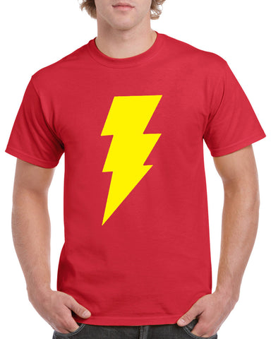 Shazam T Shirt Red Yellow Bolt Superhero Big Bang Retro Vintage Cool Tee Top  Sizes S - 2XL