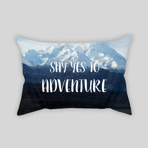 Say Yes To Adventure Mountains Travel Throw Pillowcase Rectangle Sofa Couch 100% Cotton