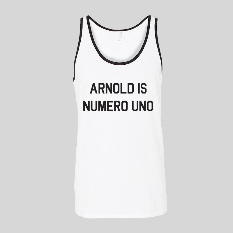 Arnold Is Numero Uno Gym Quote Holiday Summer Unisex Jersey Tank Top