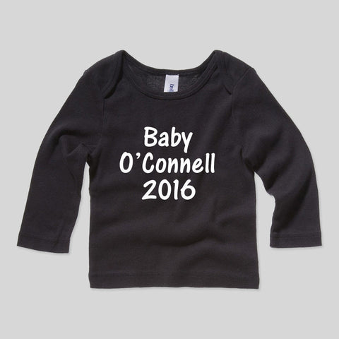 Personlised Baby Surname 2016 Baby Shower Gift Long Sleeve Top Girls Boys Rib T-Shirt 3-24mths