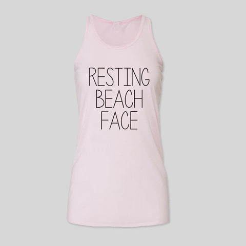Resting Beach Face Holiday Festival Summer Womens B&C Racerback Tank Top