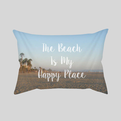 The Beach Is My Happy Place Throw Pillowcase Rectangle Sofa Couch 100% Cotton