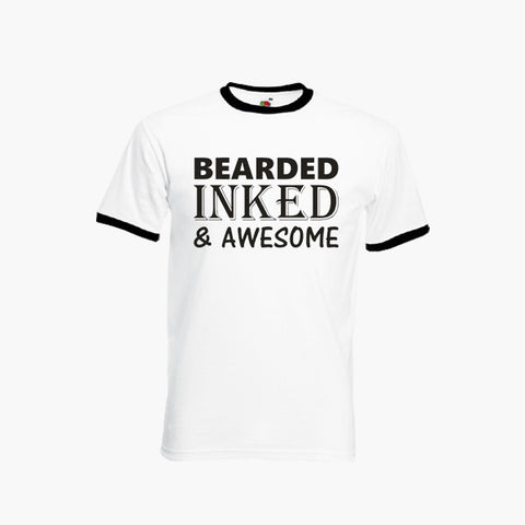 Bearded Inked And Awesome Funny T-Shirt Ringer Top Tee New