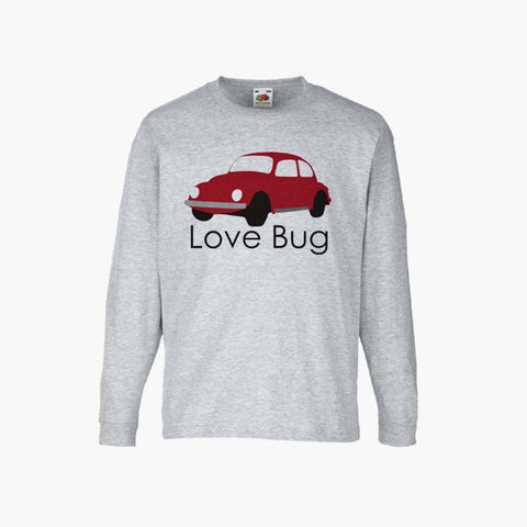Love Bug Beetle Classic Car Volkswagen Unofficial T-Shirt Long Sleeve Boys Girls Kids Childrens New
