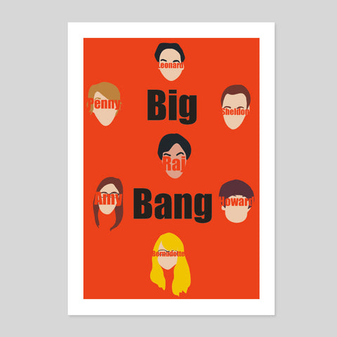 Big Bang Fan Art Unofficial Leonard Penny Sheldon TV Comedy Poster Print Art A1-3