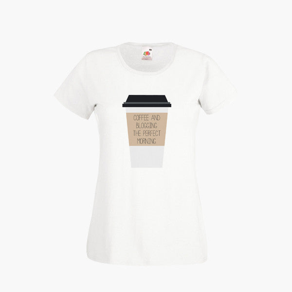 Coffee And Blogging Perfect Morning T SHIRT Womens Girls S-2XL New