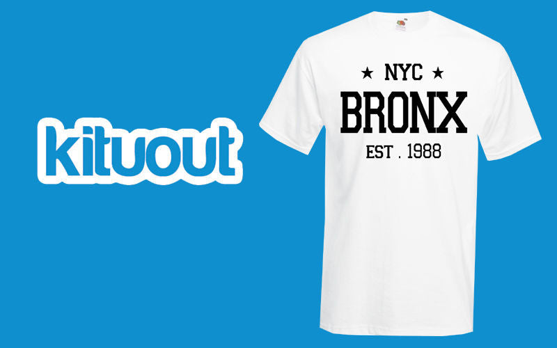 Bronx EST NYC text 1988 Varsity Mens Womens Unisex Swag Star T Shirt New