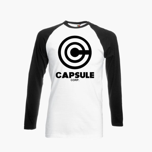 Capsule Corp Ringer Long Sleeve T-Shirt Dragon Ball Corporation Inspired Fan Top