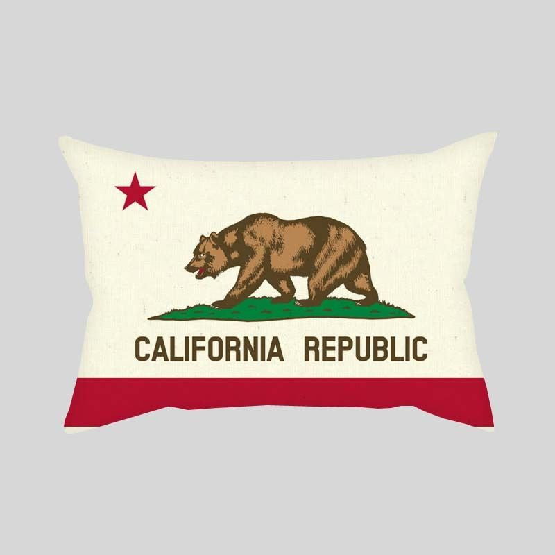 California Republic State Bear Flag Throw Pillowcase Rectangle Sofa Couch 100% Cotton